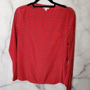 GAP Polka Dot Blouse Red and Blue Medium Blouse